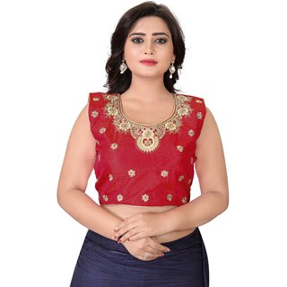 Fashionuma Red Silk Embriodered Extra Sleeve With Blouse FU-BL4004-Red