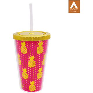 Archies Double Walled Plastic Sipper In Pink Color With Thick Straw 500 Ml Capacity 1 Pc.