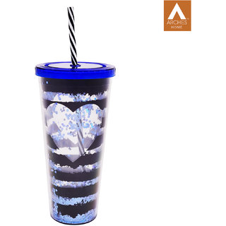 Archies Double Walled Plastic Sipper In Blue Color With Thick Straw 500 Ml Capacity 1 Pc.