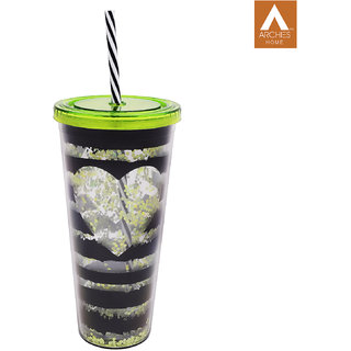 Archies Double Walled Plastic Sipper In Green Color With Thick Straw 500 Ml Capacity 1 Pc.