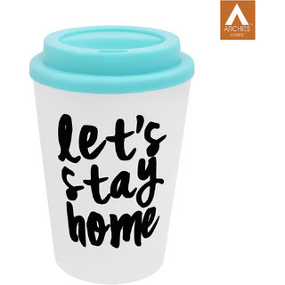 Archies Double Walled Plastic Sipper In Blue Color With Thick Straw 350 Ml Capacity 1 Pc.