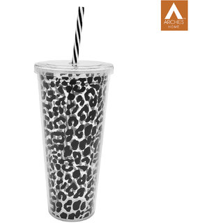 Archies Double Walled Plastic Sipper In Black Color With Thick Straw 750 Ml Capacity 1 Pc.