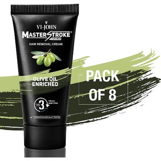 VI-JOHN Master Stroke Men Hair Removal Cream Olive 60GM Pack of 8