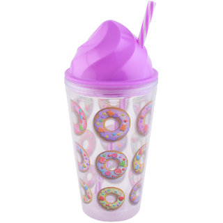 Archies Donut Print Double Walled Plastic Sipper With Thick Straw Purple Color 500 Ml Capacity 1 Pc.
