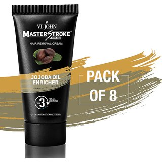 VI-JOHN Master Stroke Men Hair Removal Cream jojoba 60GM Pack of 8