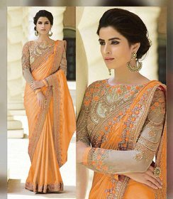 orange very beautyful havy saree with fancy blouse
