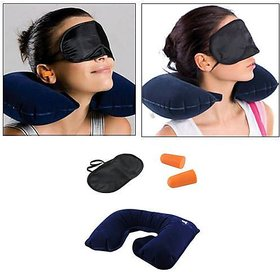 3 in 1 Travel Set Air Cushion Neck Pillow + Eye Mask+ Ear Plugs