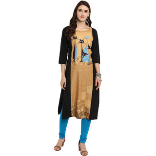 Ziyaa Women's Multi Color Straight Digital Print Kurta