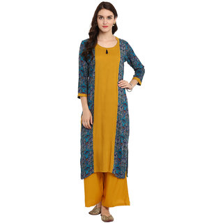 Ziyaa Women's Mustard Color Straight Digital Print Kurta Palazzo Set