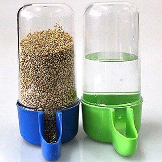 Bird Feeder Good for Birds Food  Water Plastic Feeder (2Pcs Set) Good for Canay Finch Lovebirds Budgerigar Sparrow