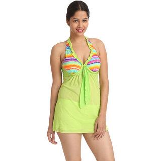 Appealing Multi Lemon Colour Ruffle Halter Neck Cut-Sleeve Beachwear Cover-Up