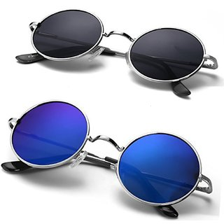 Pack Of 2 Code Yellow Blue & Black UV Protected Round Medium Metal Silver Unisex Sunglasses