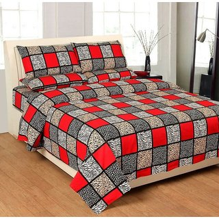 Choco Bajri Lal Double Bedsheet +2 Full Size Pillow Cover Free