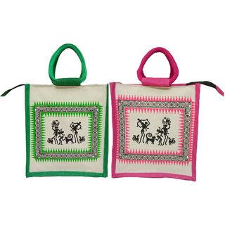 Styles Creation Combo Of 2 Premium Quality Stylish Trendy Jute Lunch Bag /Return Gift Bag /Everyday use Bag (HNDBG14)