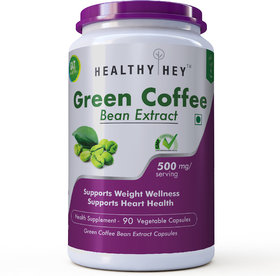 Healthyhey Nutrition Green Coffee Bean Extract With Antioxidants, 50 Chlorogenic Acid 500Mg - 90 Count
