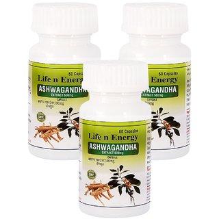 Life N Energy Pure Ayurvedic Ashwagandha Extract 500 mg 180 capsules 3 pack