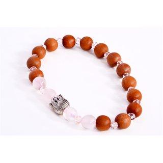 Universal beaded bracelet for women made from rose quartz, crystal and sandalwood