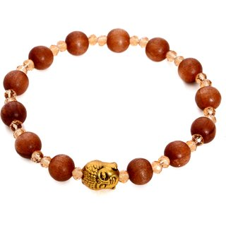 Peaceful bracelet for women made from crystal and sandalwood