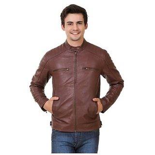 Men's Brown PU Leather Jacket