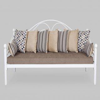 Swastik Furniture -  Metal Sofa In Grey Mattress