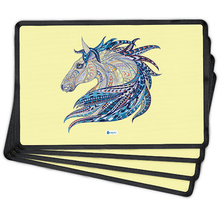 Indigifts Diwali Gifts Cream Table Mats 30.48 cm (12 inch) x 20.32 cm (8 inch) x 1 cm (0.39 inch) Set of 4