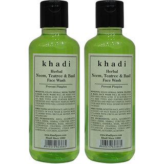 Khadi Herbal Neem, Teatree  Basil Face Wash - 210ml (Set of 2)