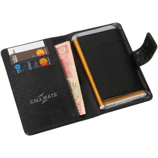 CallMate LIPO Leather Wallet Power Bank 4000 mAH with 1 USB Ports and LED Battery Indicator with torch