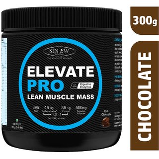 Sinew Nutrition Elevate PRO Lean Muscle Mass Gainer Protein Powder with Digestive Enzymes Rich Chocolate 300gm