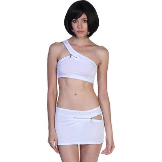 Stylish Zip Up White  White Crop Top And Skirt One-Shoulder Set