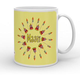 Indigifts Diwali Festival Gifts Cream Coffee Mug 330 ml Set Of 1