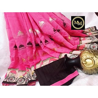 Chanderi Cotton Saree With Jhumka Embroidered , Cycle Embroidered Border And Contrast Blouse  Pink
