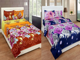 Status Multicolor Polyester 2 Double Bedsheets with 4 Pillow Covers