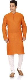 Trustedsnap solid orange kurta for mens