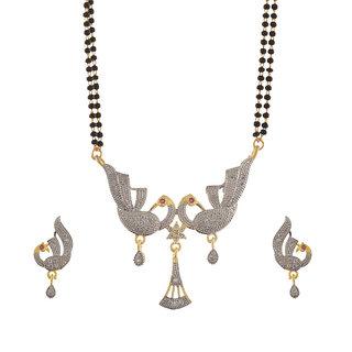 Fashion Peacock Pendant Mangalsutra Earrings Set with American Diamonds