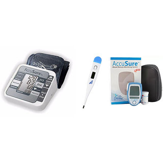 DR GENE ACCUSURE AUTOMATIC BP MONITOR TS  ACCUSURE GLUCOMETER WITH 25 STRIPS AND DIGITAL THERMOMETER MT-101 COMBO