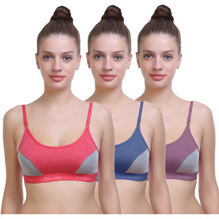 262133dde7 Buy Pack of 3 Multicolor Cotton Set of 3 Women s Non- Padded Sports Bra  Combo (PRINT AND DESIGN MAY VARY) Online - Get 60% Off