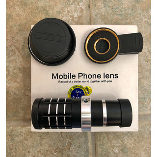 Tech Gear Phone 3-in-1 Lens Kit Telephoto Zoom 12X Super Wide Angle 0.45X for Smartphone