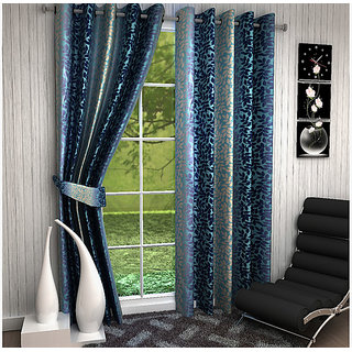 VAANI HD  HDSet of 2 Long Window Eyelet Curtains Abstract Blue 5 Feet( set of 2 curtains 4x5 )