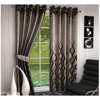 VAANI HD  HDSet of 2 Long Jute Window Eyelet Curtains  5 feet( set of 2 curtains 4x5 )