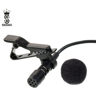 SEGGO Professional Mini Lavalier Lapel Microphone 3.5mm Omnidirectional Condenser Clip On Noice Cancelling Lav Mic- Black Microphone