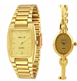 Gen-Z Premium Gold Tone Analog Watch For Couple