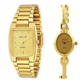 Gen-Z Gold Plated Analog Couple Watches