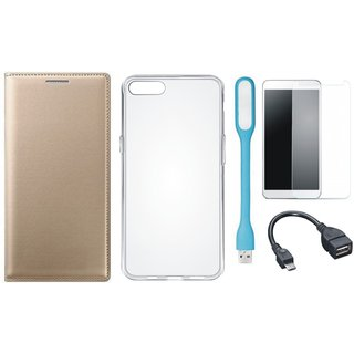 Moto C Plus Leather Flip Cover with Silicon Back Cover, Tempered Glass, USB LED Light and OTG Cable by Vivacious
