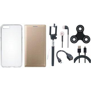 Moto C Plus Stylish Leather Cover with Spinner, Silicon Back Cover, Selfie Stick, Earphones, OTG Cable and USB Cable by Vivacious