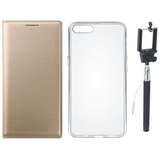 Moto C Plus Stylish Leather Flip Cover with Silicon Back Cover and Selfie Stick