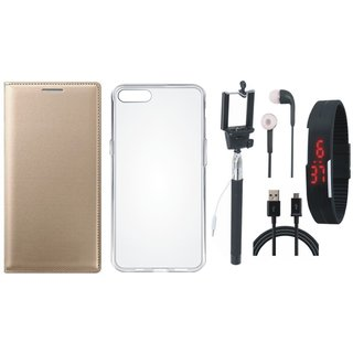 Moto C Plus Premium Quality Leather Cover with Silicon Back Cover, Selfie Stick, Digtal Watch, Earphones and USB Cable by Vivacious