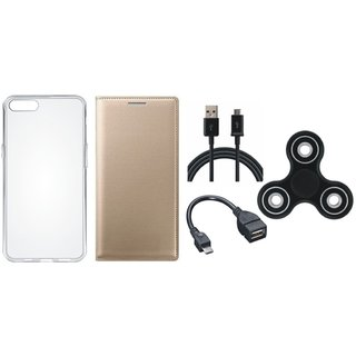 Oppo F5 Premium Leather Cover with Spinner, Silicon Back Cover, OTG Cable and USB Cable by Vivacious