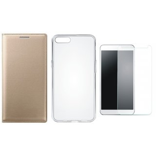Oppo F5 Stylish Leather Flip Cover with Silicon Back Cover, Tempered Glass