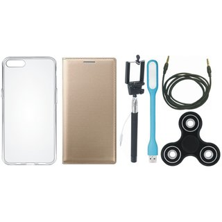 Oppo F5 Stylish Leather Cover with Spinner, Silicon Back Cover, Selfie Stick, USB LED Light and AUX Cable by Vivacious