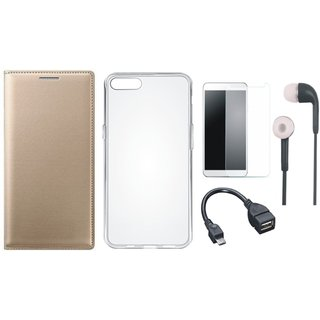 Moto E4 Leather Flip Cover with Silicon Back Cover, Tempered Glass, Earphones and OTG Cable by Vivacious